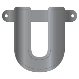 Banner letter U metallic zilver