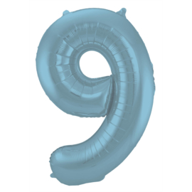Folieballon cijfer 9 pastel blauw 86 cm.