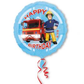 Brandweerman Sam happy birthday folieballon ø 43 cm.