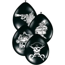 Piraten ballonnen zwart ø 30 cm. 8 st.