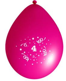 Ballonnen party fuchsia 4 jaar ø 33 cm. 6 st.