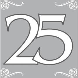 Servetten zilver 25 jaar 33 x 33 cm. 20 st.