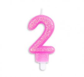 Taart kaars 2 jaar roze glitter 7 cm.