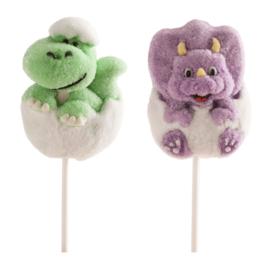 Dinosaurus marshmallow traktatie lollie p/stuk