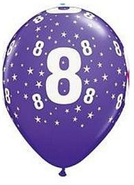 Leeftijd ballonnen stars paars 8 jaar ø 28 cm. 6 st.