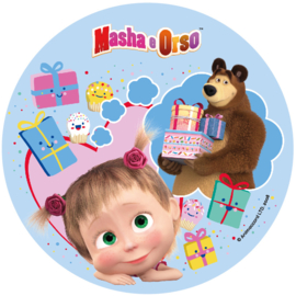 Masha and the Bear ouwel taart decoratie ø 21 cm. C