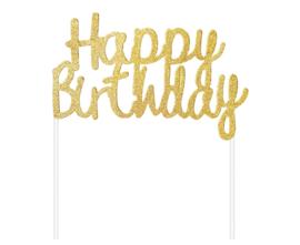 Happy Birthday taart topper glitter goud 11 x 14 cm.