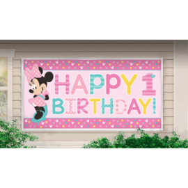 Disney Minnie Mouse 1e verjaardag banner 85 x 165 cm.