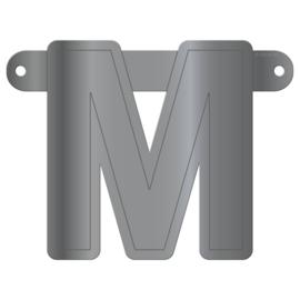 Banner letter M metallic zilver