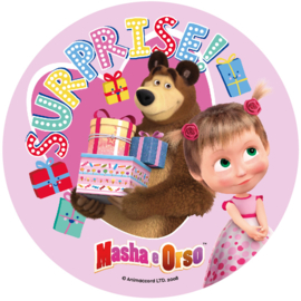 Masha and the Bear ouwel taart decoratie ø 21 cm. D