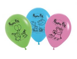 Peppa Pig ballonnen blauw - groen - roze ø 30 cm. 5 st.