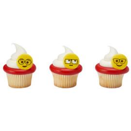 Emoji - Smiley cupcake ringen 6 st.