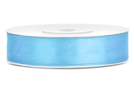 Satijn lint licht blauw 12 mm. x 25 mtr.