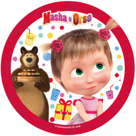 Masha and the Bear taart frosting decoratie ø 21 cm. A
