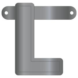 Banner letter L metallic zilver