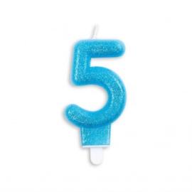 Taart kaars 5 jaar blauw glitter 7 cm.