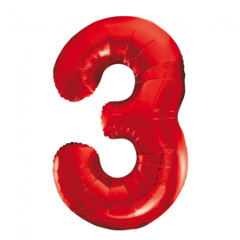 Folieballon cijfer 3 rood 86 cm.