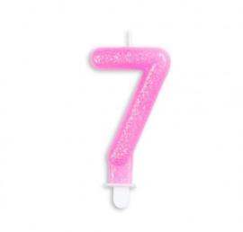 Taart kaars 7 jaar roze glitter 7 cm.