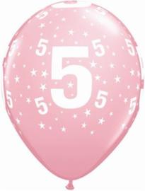 Leeftijd ballonnen 5 jaar roze ø 28 cm. 6 st.