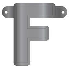 Banner letter F metallic zilver