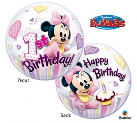 Disney Baby Minnie Mouse 1e verjaardag bubble ballon ø 56 cm.