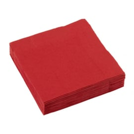 Servetten rood 25 x 25 cm.  20 st.