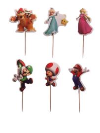 Super Mario Bros cupcake prikkertjes 24 st.