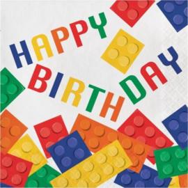 Lego Block happy birthday servetten 32,7 x 32,3 cm. 16 st.