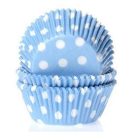 Licht blauwe cupcake vormpjes met witte stippen 50 st.