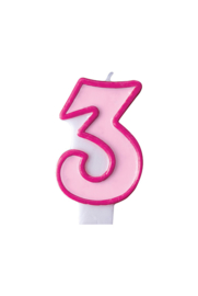 Taart kaars roze 3 jaar 7,5 cm.