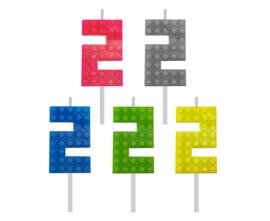 Lego Block Party taart kaars cijfer 2 -  5,5 cm. p/stuk