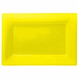 Gele wegwerp serveerschalen set 32 x 23 cm. 3 st.