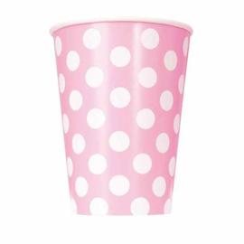 Roze met witte stippen bekertjes 6 st. 355 ml.