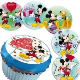Disney Mickey Mouse cupcake frosting decoratie ø 4,5 cm. 12 st.