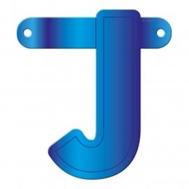 Banner letter J blauw