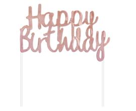 Happy Birthday taart topper decoratie rose goud 11 x 14 cm.