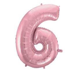 Folieballon cijfer 6 roze 92 cm.
