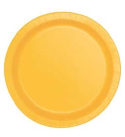 Gele wegwerp bordjes ø 21,9 cm. 16 st.