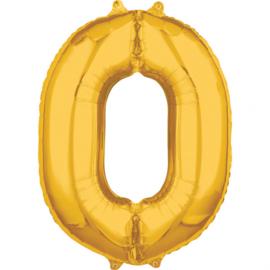 Folieballon cijfer 0 goud 50 x 66 cm. (Amscan)
