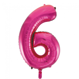 Folieballon cijfer 6 fuchsia 86 cm.