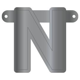 Banner letter N metallic zilver