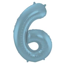 Folieballon cijfer 6 pastel blauw 86 cm.
