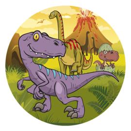 Dinosaurus eetbare taart decoratie ø 20 cm.