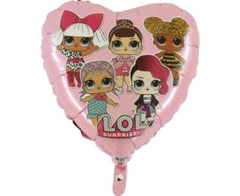 LOL Surprise hart folieballon roze 45 cm.