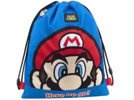 Super Mario Bros gym- zwemtas Here we go! blauw 42 x 34 cm.