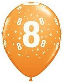Leeftijd ballonnen stars oranje 8 jaar ø 28 cm. 6 st.