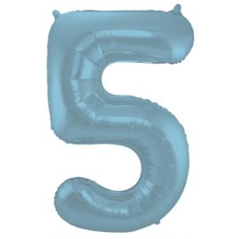 Folieballon cijfer 5 pastel blauw 86 cm.