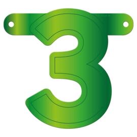 Banner cijfer 3 lime groen