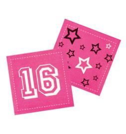 Sweet Sixteen servetten 33 x 33 cm. 12 st.