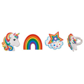 Unicorn rainbow cupcake ring 6 st.